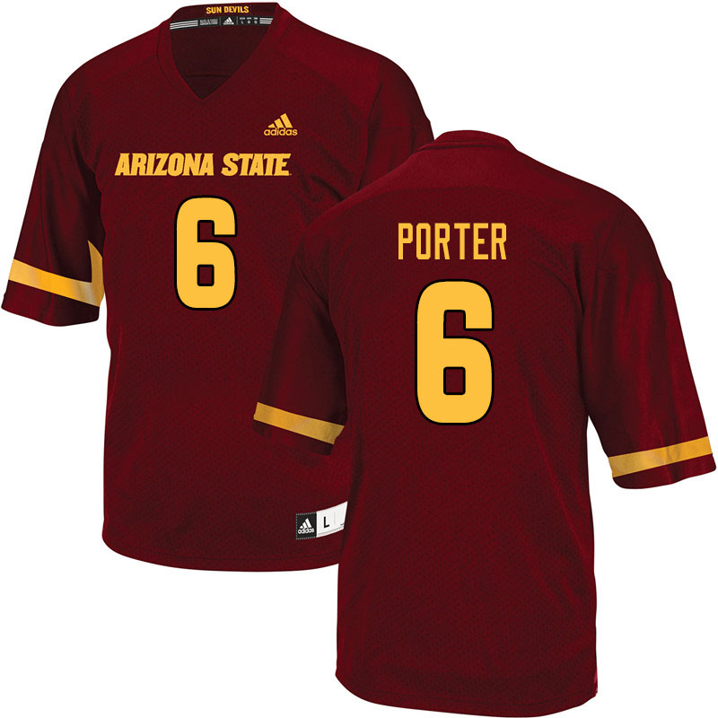 Men #6 Geordon Porter Arizona State Sun Devils College Football Jerseys Sale-Maroon