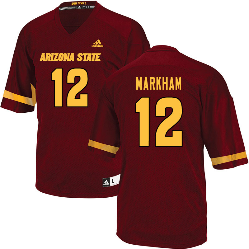 Men #12 Kejuan Markham Arizona State Sun Devils College Football Jerseys Sale-Maroon