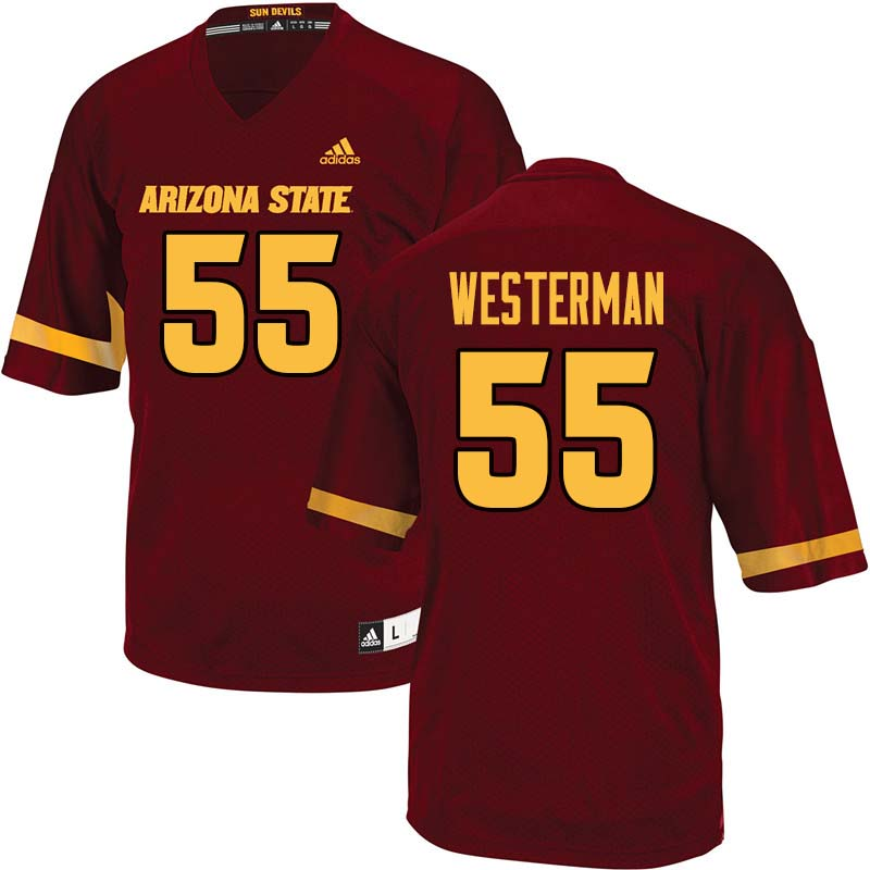 Men #55 Christian Westerman Arizona State Sun Devils College Football Jerseys Sale-Maroon