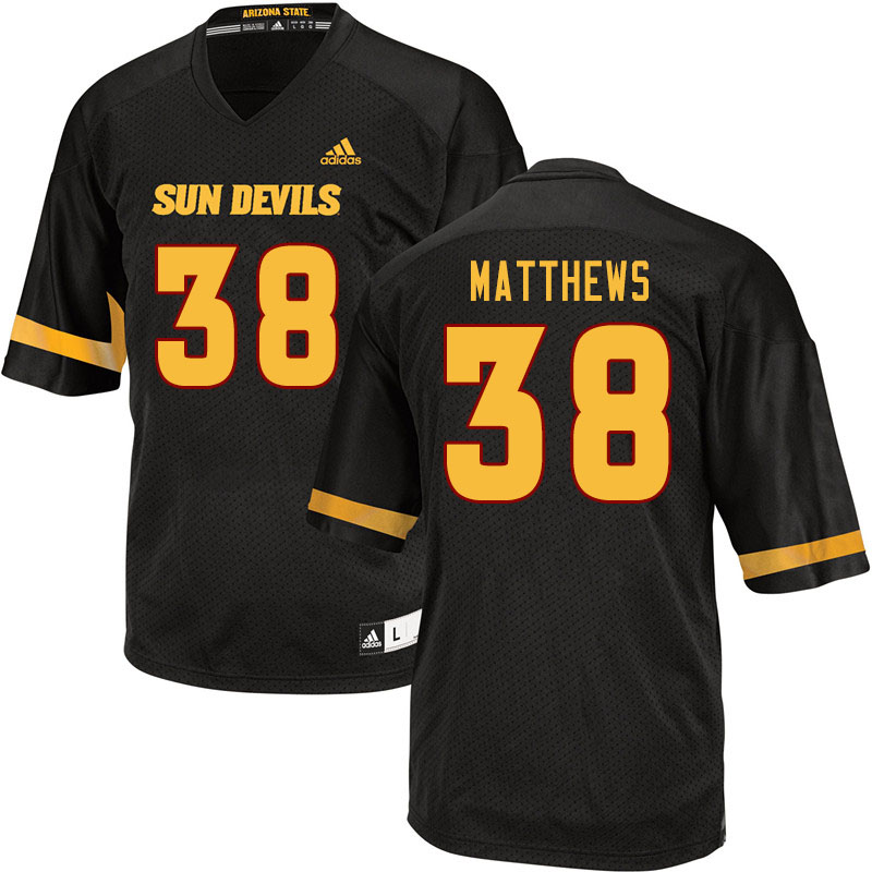 Men #38 Damon Matthews Arizona State Sun Devils College Football Jerseys Sale-Black