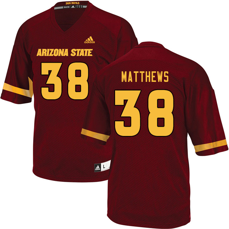 Men #38 Damon Matthews Arizona State Sun Devils College Football Jerseys Sale-Maroon