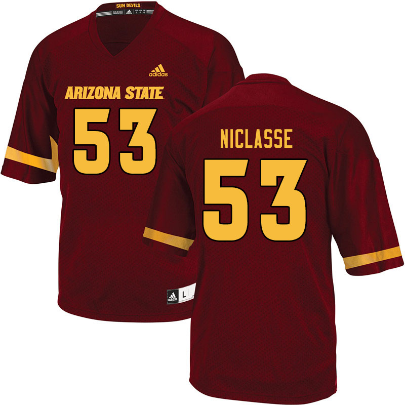 Men #53 Fritzny Niclasse Arizona State Sun Devils College Football Jerseys Sale-Maroon