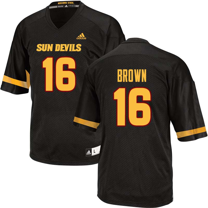 Men #16 Kevin Brown Arizona State Sun Devils College Football Jerseys Sale-Black