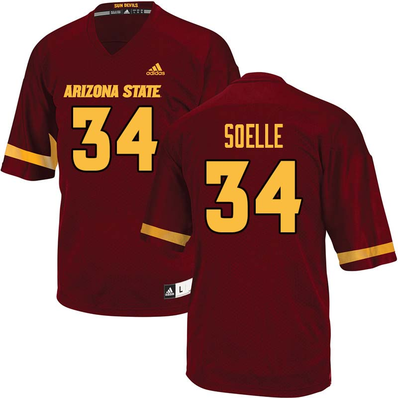 Men #34 Kyle Soelle Arizona State Sun Devils College Football Jerseys Sale-Maroon