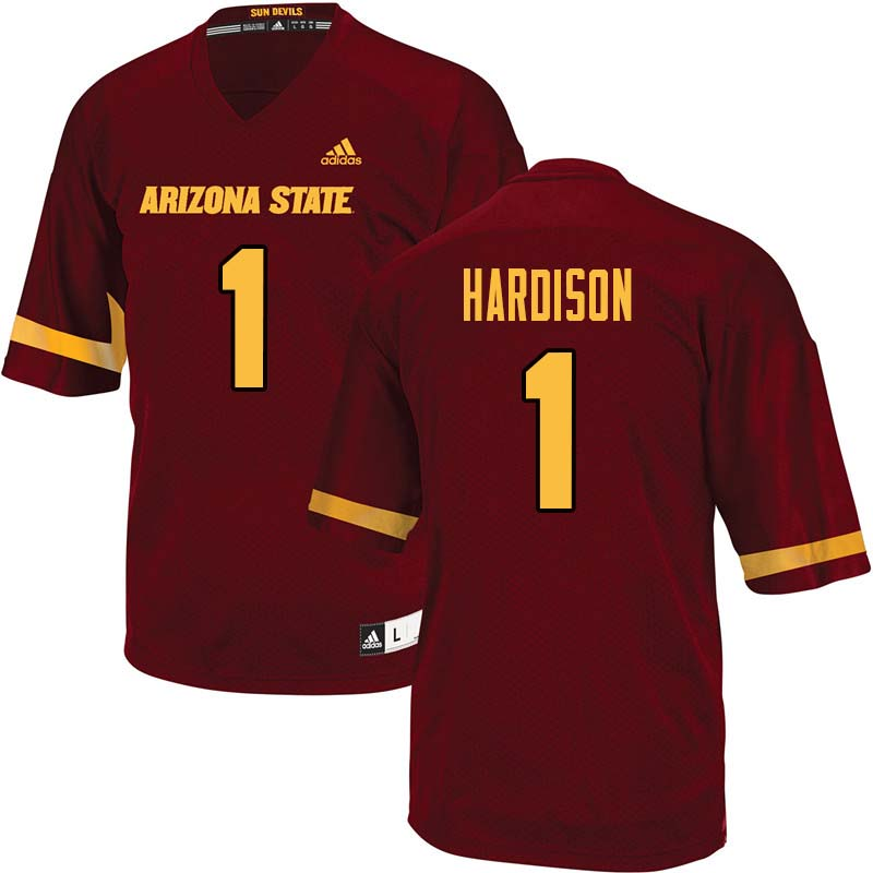 Men #1 Marcus Hardison Arizona State Sun Devils College Football Jerseys Sale-Maroon