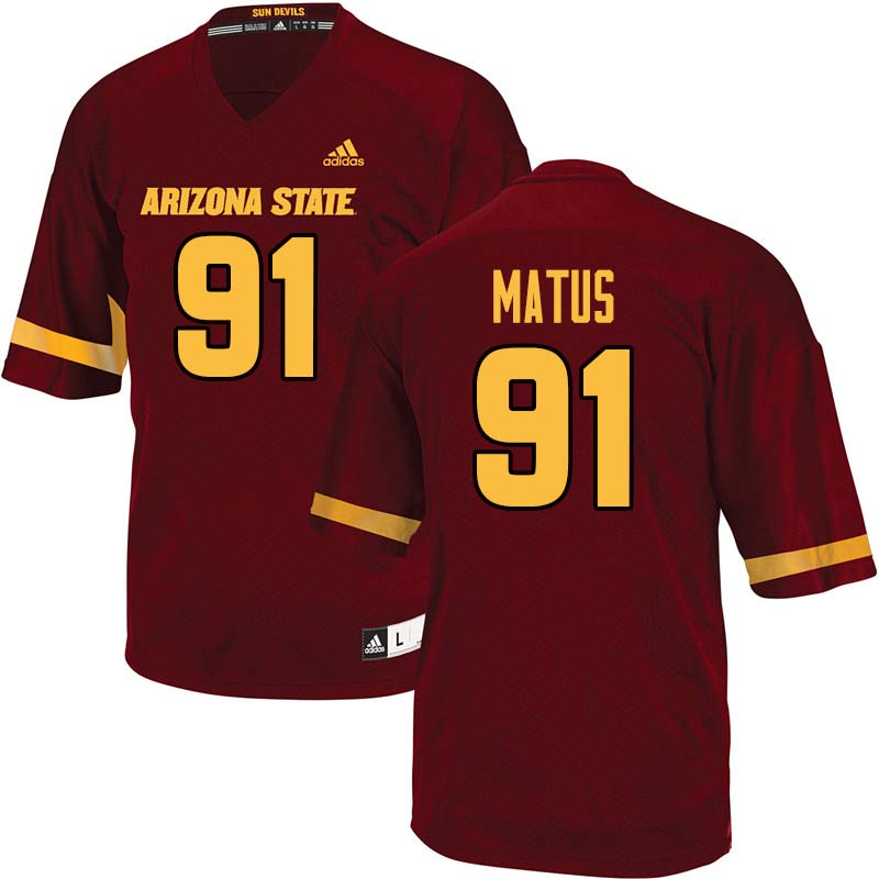 Men #91 Michael Matus Arizona State Sun Devils College Football Jerseys Sale-Maroon