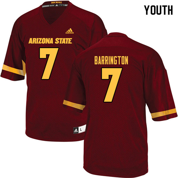 Youth #7 Beau Barrington Arizona State Sun Devils College Football Jerseys Sale-Maroon