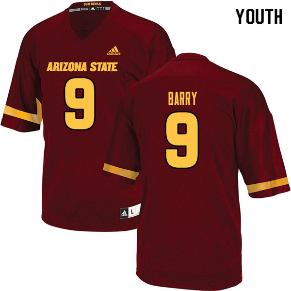 Youth #9 Grayson Barry Arizona State Sun Devils College Football Jerseys Sale-Maroon