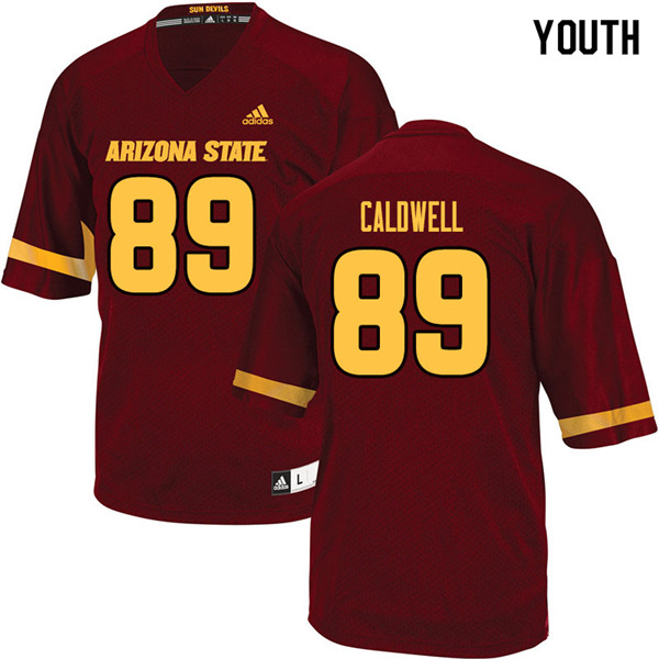 Youth #89 Jarick Caldwell Arizona State Sun Devils College Football Jerseys Sale-Maroon