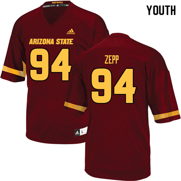 Youth #94 Joseph Zepp Arizona State Sun Devils College Football Jerseys Sale-Maroon