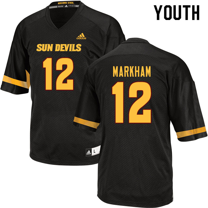 Youth #12 Kejuan Markham Arizona State Sun Devils College Football Jerseys Sale-Black