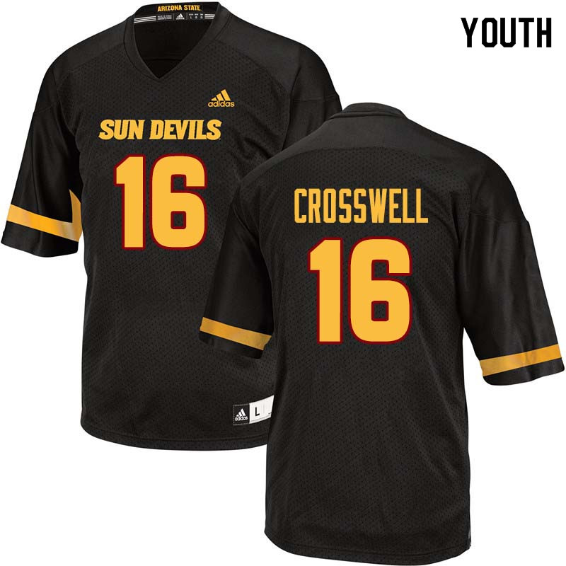 Youth #16 Aashari Crosswell Arizona State Sun Devils College Football Jerseys Sale-Black