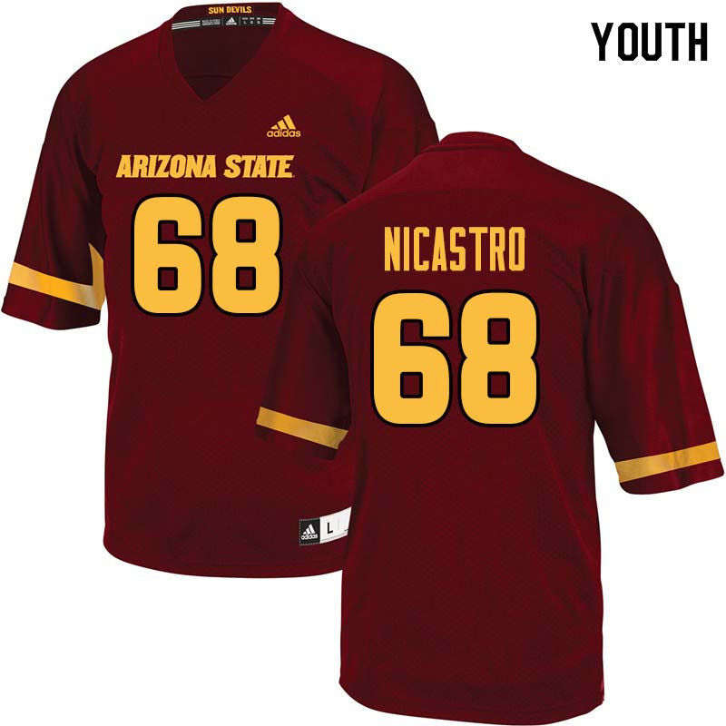 Youth #68 Anthony Nicastro Arizona State Sun Devils College Football Jerseys Sale-Maroon