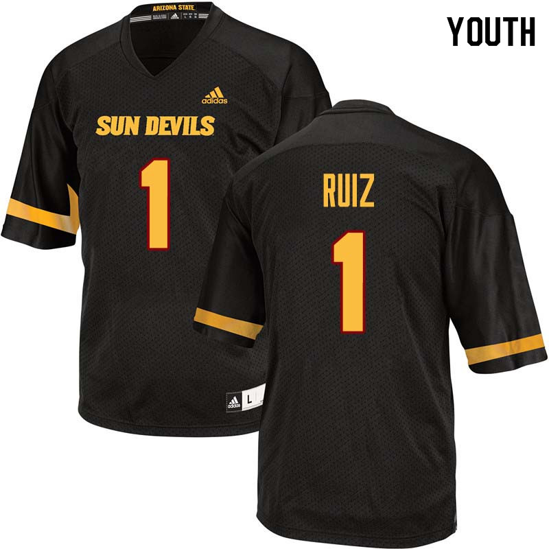 Youth #1 Brandon Ruiz Arizona State Sun Devils College Football Jerseys Sale-Black
