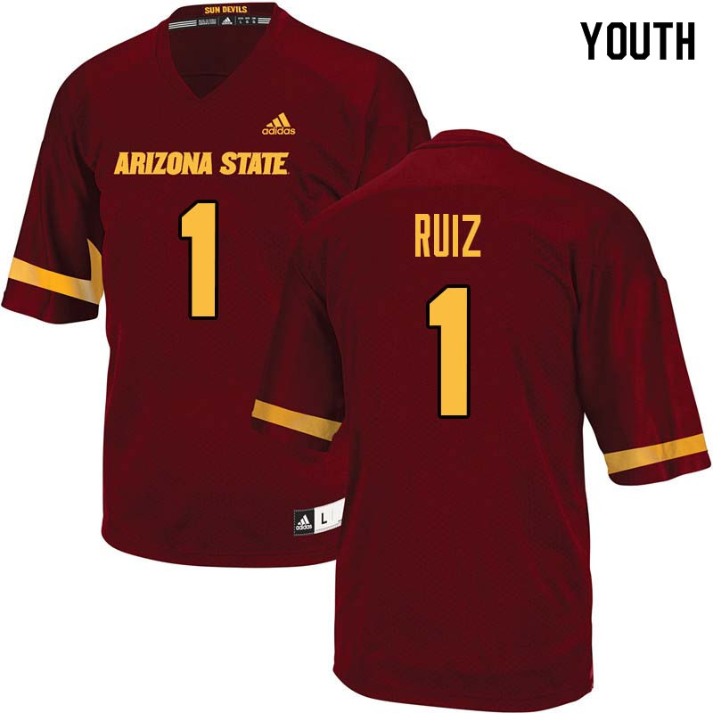 Youth #1 Brandon Ruiz Arizona State Sun Devils College Football Jerseys Sale-Maroon