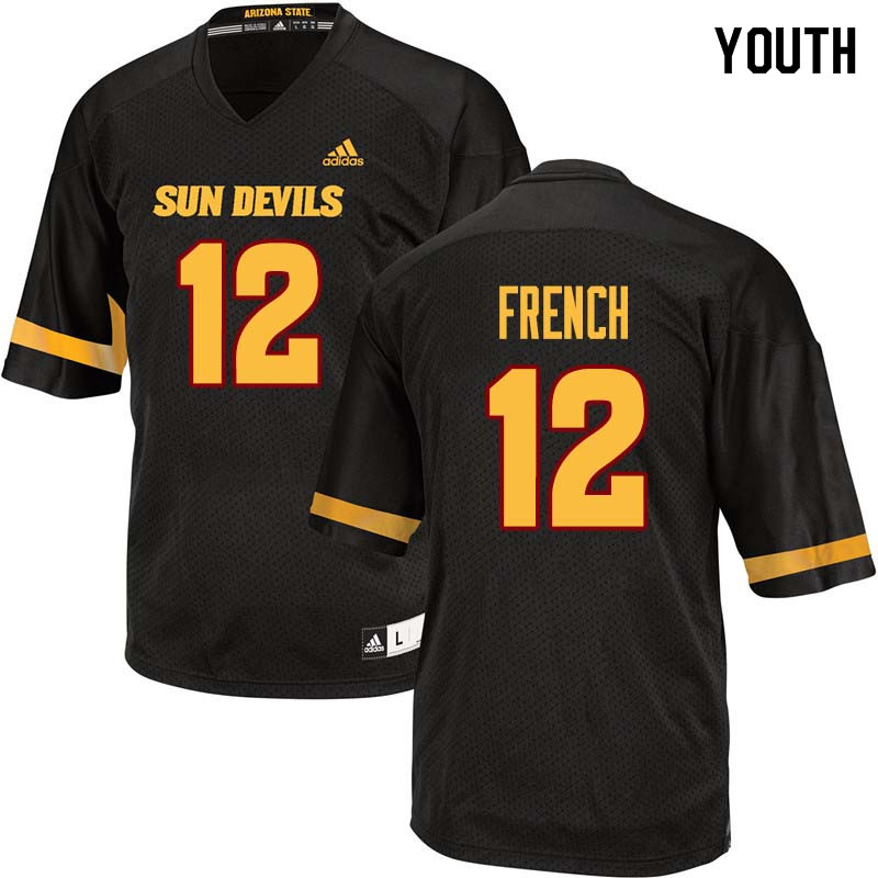 Youth #12 Cody French Arizona State Sun Devils College Football Jerseys Sale-Black