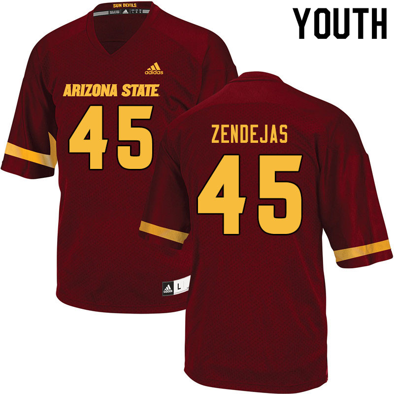 Youth #45 Cristian Zendejas Arizona State Sun Devils College Football Jerseys Sale-Maroon