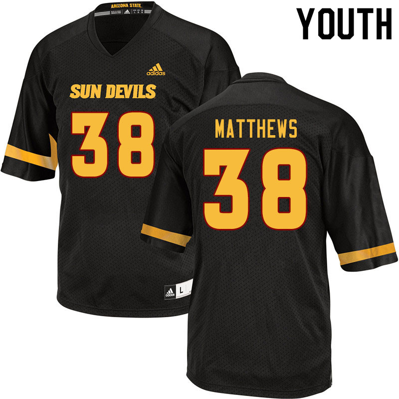 Youth #38 Damon Matthews Arizona State Sun Devils College Football Jerseys Sale-Black