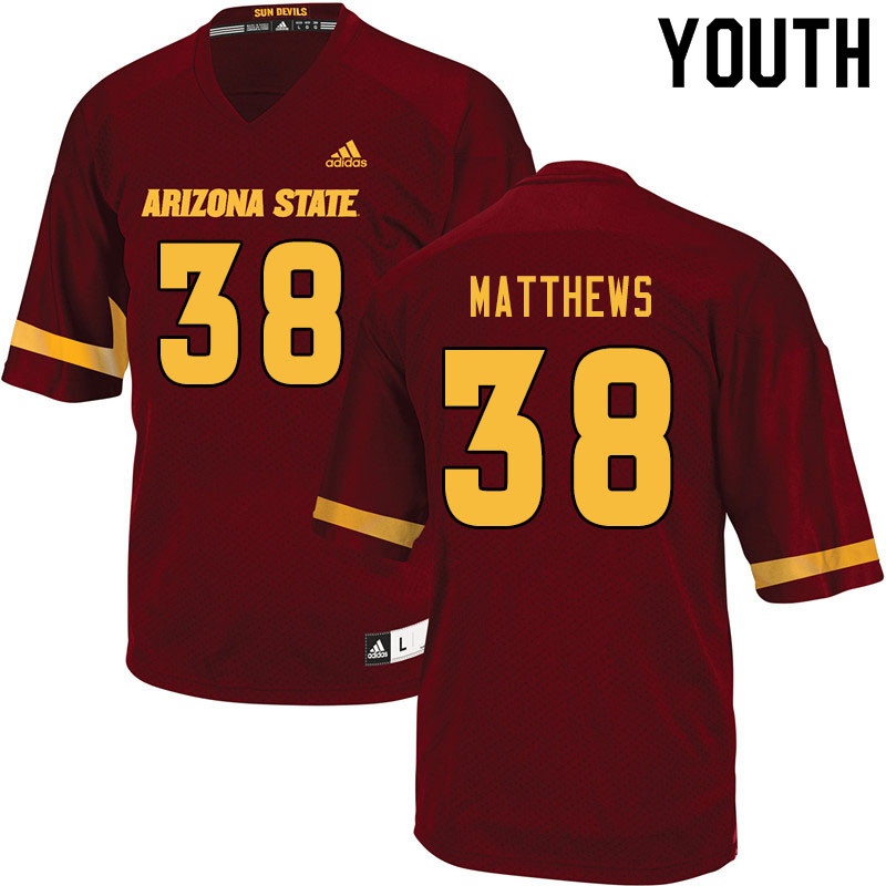 Youth #38 Damon Matthews Arizona State Sun Devils College Football Jerseys Sale-Maroon