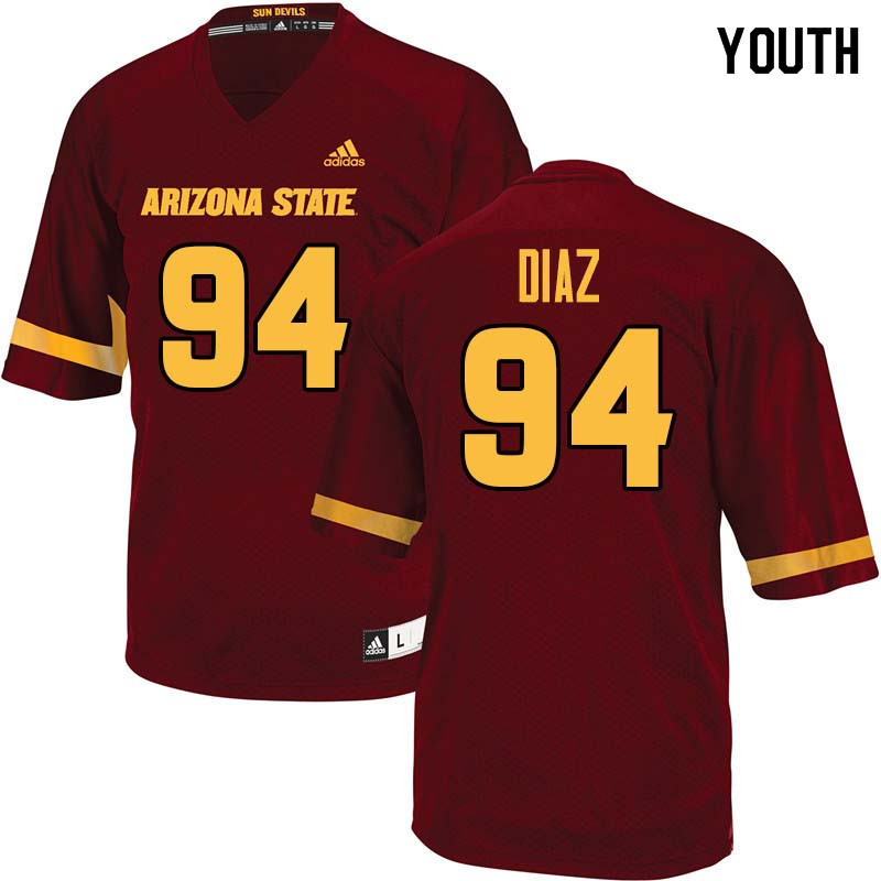 Youth #94 Jamie Diaz Arizona State Sun Devils College Football Jerseys Sale-Maroon