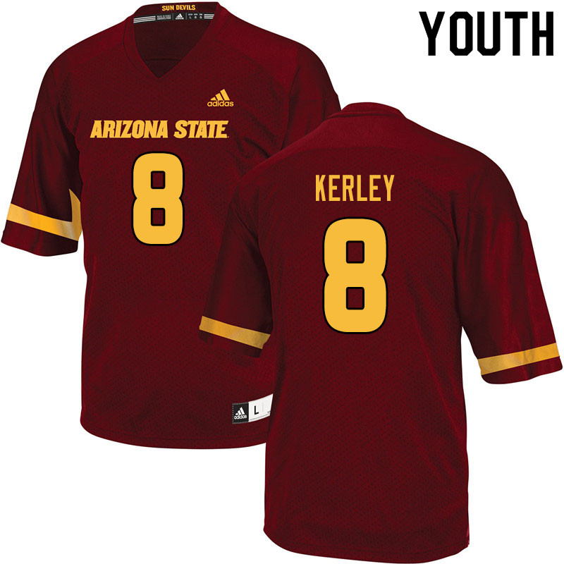 Youth #8 Jordan Kerley Arizona State Sun Devils College Football Jerseys Sale-Maroon
