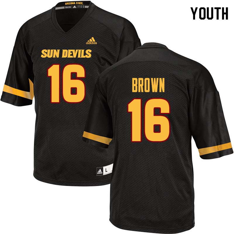 Youth #16 Kevin Brown Arizona State Sun Devils College Football Jerseys Sale-Black