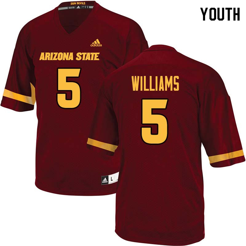 Youth #5 Kobe Williams Arizona State Sun Devils College Football Jerseys Sale-Maroon