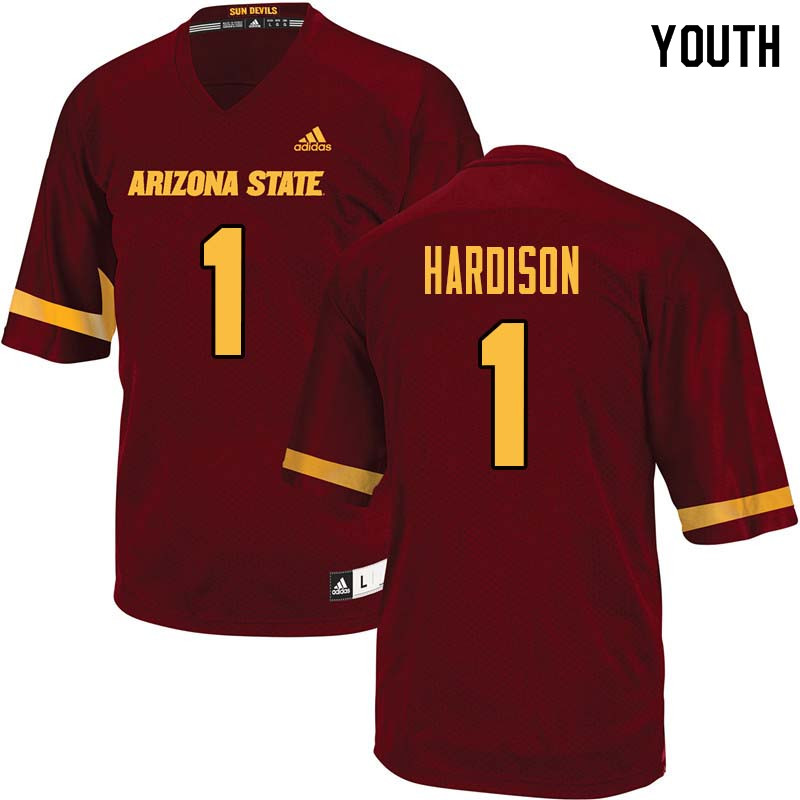Youth #1 Marcus Hardison Arizona State Sun Devils College Football Jerseys Sale-Maroon