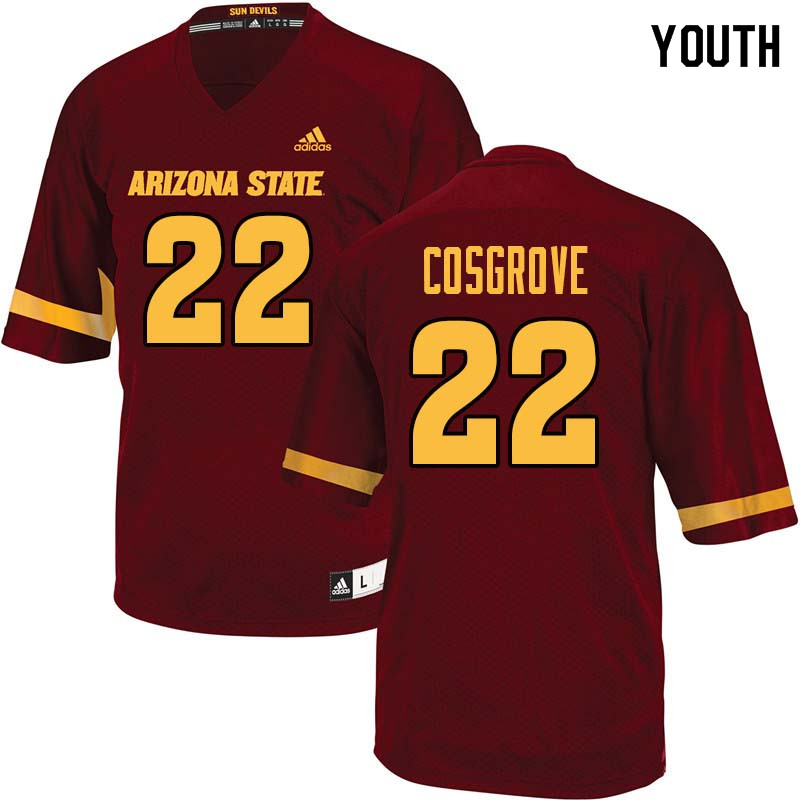 Youth #22 Mark Cosgrove Arizona State Sun Devils College Football Jerseys Sale-Maroon