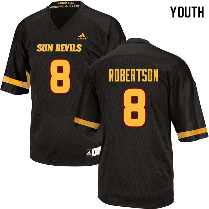 Youth #8 Merlin Robertson Arizona State Sun Devils College Football Jerseys Sale-Black