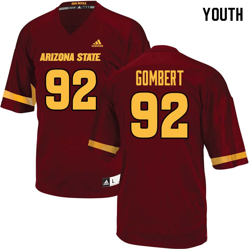 Youth #92 Michael Gombert Arizona State Sun Devils College Football Jerseys Sale-Maroon