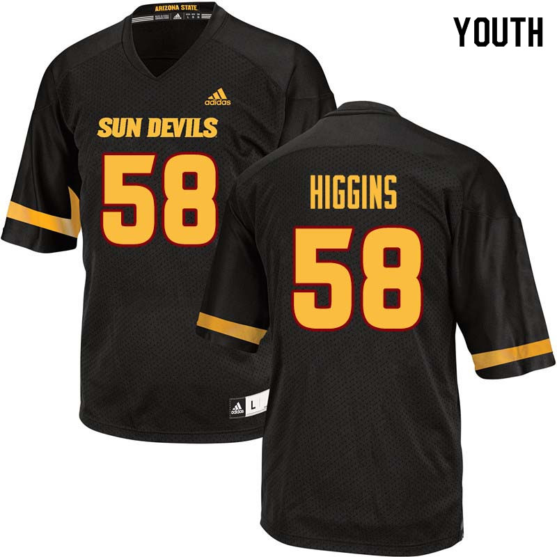 Youth #58 Parker Higgins Arizona State Sun Devils College Football Jerseys Sale-Black
