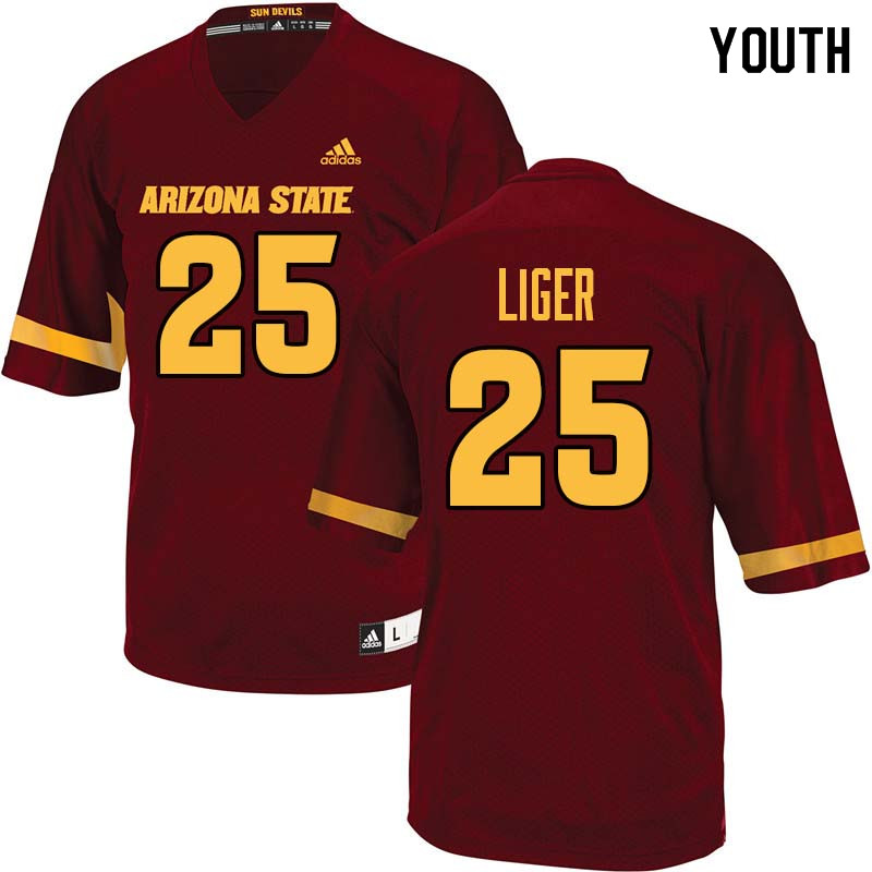 Youth #25 Preston Liger Arizona State Sun Devils College Football Jerseys Sale-Maroon