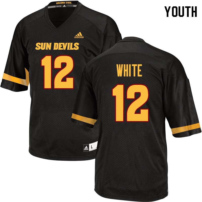 Youth #12 Tim White Arizona State Sun Devils College Football Jerseys Sale-Black