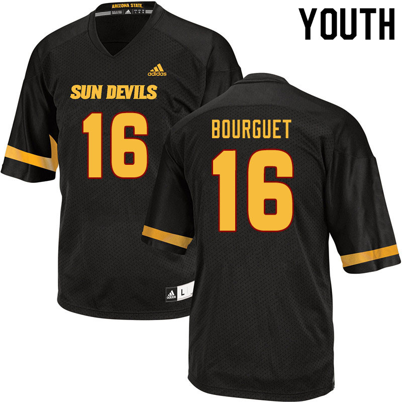 Youth #16 Trenton Bourguet Arizona State Sun Devils College Football Jerseys Sale-Black